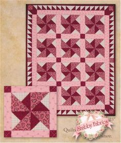 """Old Time Pinwheels: Old Time Pinwheels is a traditional pinwheel quilt with an attention getting triangle border!  This pattern includes instructions to complete a quilt measuring 18"""" X 23""""."""