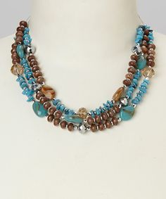 Look at this #zulilyfind! Turquoise & Brown Triple Row Bead Necklace by Majestic #zulilyfinds
