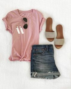 madewell tee outfit, spring style, knot tee, bloggers instagram, denim shorts outfit, outfit ideas for women, like to know it, like to know it outfit, spring outfits