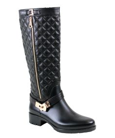 Another great find on #zulily! Black Quilted Nini Rain Boot by Reneeze #zulilyfinds