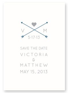 Printable Simple Save the Date - Arrows & Heart