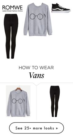 """""""Gray sweatshirt"""" by johannaelyce on Polyvore featuring Topshop, Vans and GraySweatshirts"""