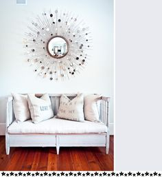 Inspiration for home - sun mirror and gorgeous couch