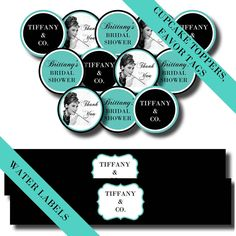 Audrey Hepburn's Breakfast at Tiffany's Bridal Shower Package - Printable Party Labels & Invitations  $25.00 USD, via Etsy.