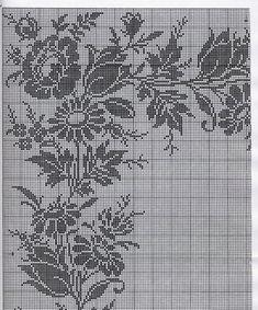 Filet Crochet Charts, Crochet Doily Patterns, Lace Patterns, Crochet Doilies, Crochet Lace, Crochet Stitches, Cross Stitch Rose, Cross Stitch Borders, Cross Stitch Designs