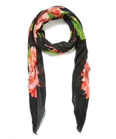 Stella McCartney Black Audrey Floral Printed Scarf | Accessories | Liberty.co.uk
