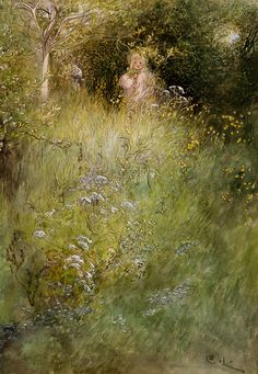 A Fairy Or Kersti And A View Of A Meadow  Artist: Carl Larsson