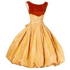 1950's Butterscotch Silk Taffeta Velvet Cocktail Bubble Skirt Dress
