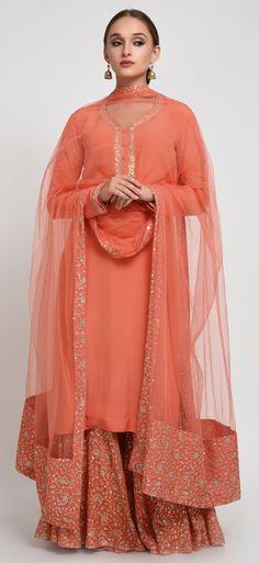 Orange Gota Patti Hand Embroidered Kurta With Sequin Sharara Pants & Dupatta