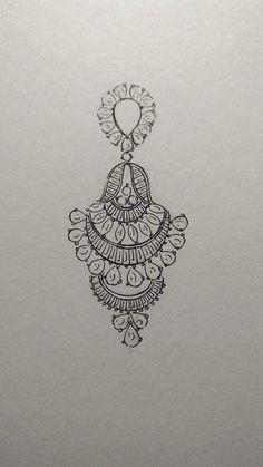 Beautiful earrings in diamonds jewelry design drawing, gold jewellery design, gold jewelry, filigree Fashion Design Sketchbook, Fashion Design Drawings, Gold Earrings Designs, Gold Jewellery Design, Jewelry Design Drawing, Jewelry Illustration, Jewellery Sketches, Jewelry Art, Jewelry Dish