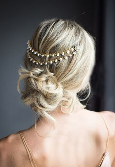 $86 Gold Pearl Bridal Hair Chain Wedding Hair Wrap by LottieDaDesigns