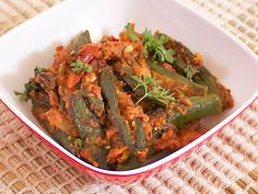 Dry, shallow fried, spicy masala filled okra