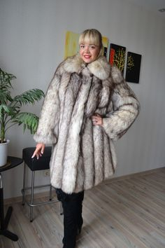 Fur coat polar fox fluffy long woman full size XL | eBay
