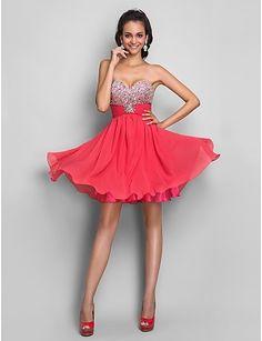 A-line/Princess Sweetheart Short/Mini Chiffon Cocktail Dress #Dress #7showing whatever we like