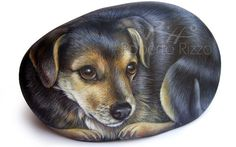 A unique Piece of Art, a special item in Memory of your Beloved Pet and a great Gift Idea! This is a SAMPLE of one of the types of pet portraits that I do on natural sea rocks. Its painted in high quality acrylics on a smooth stone and protect with a strong matt varnish coat. All my