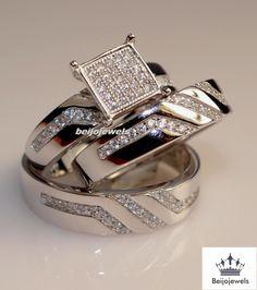 His Her Mens Woman Diamonds Wedding Ring Bands Trio Bridal Set 10k White Gold