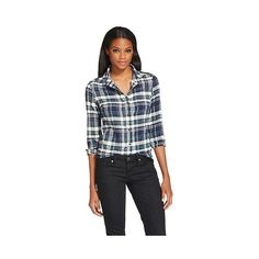 Women's Button Down Shirt Green - Jachs Manufacturing Co. S ($24) ❤ liked on Polyvore featuring tops, green, black plaid shirt, black button down shirt, green button down shirt, green shirt and black shirt