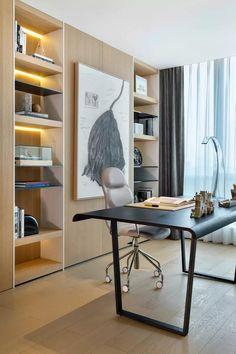 162㎡现代简约成都美年中心D户型--李玮珉 & 中熙设计_设计圈 Home Office Space, Home Office Desks, Office Decor, Shelf Dividers, Creative Home, Living Room Decor, Furniture Design, Shelves, Interior Design