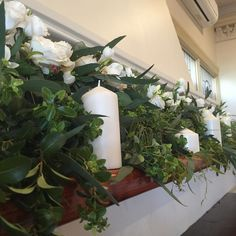 Mantle flowers #wedding #weddingflowers #white #whiteweddings #mantledecor #flowers #florist #floral #candles #lorne #greatoceanroad @grandpacificlorne by beachsideblooms http://ift.tt/1IIGiLS