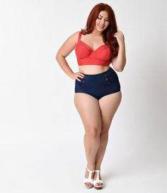Are you nauti or nice? It doesnt matter when you set sail in the Mrs. Cooper Navy High Waist Sailor Short Swim Bottoms from Unique Vintage. These aquatic-inspired high-waisted sailor bikini bottoms offer plenty of retro, seafaring charm, including functi