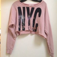 Cropped NYC Skyline Sweater! Pretty pink cropped sweater! Super comfortable and cute! Michelle Tops