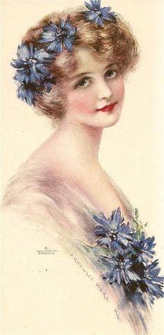 Cornflower Blue lady by J. Knowles Hare : j knowles hare Images Vintage, Vintage Diy, Vintage Ephemera, Vintage Girls, Vintage Pictures, Vintage Postcards, Vintage Woman, Victorian Pictures, Vintage Photographs