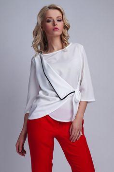 Bluzka damska Kopertowa bluzka z wiązaniem BLU 122, od projektanta Lanti | Mustache.pl