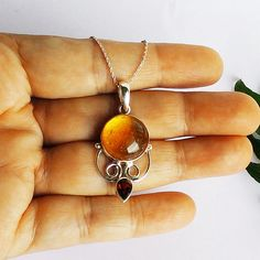 Beautiful AMBER / RED GARNET Gemstone Pendant, Birthstone Pendant, Fashion Handmade Pendant, 925 Sterling Silver Pendant, Free Chain, Christmas