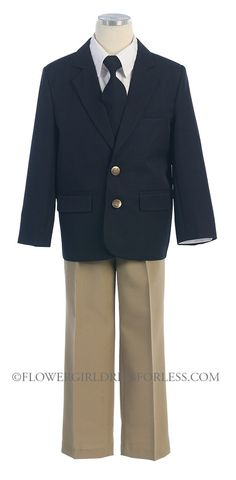 SK_M130KH - Boys Suit Style 130- 4 PC Blazer Set in Choice of Tan or Grey - Dark Blue - Flower Girl Dress For Less
