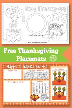 Kids Activities Blog has FREE Thanksgiving Placemats for your little ones! Your kids will have fun with coloring placemats, color by nu