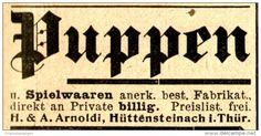 Original-Werbung/ Anzeige 1898 - PUPPEN / SPIELWAAREN / ARNOLDI - HÜTTENSTEINACH…
