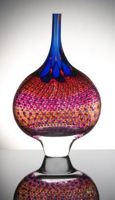 blown glass, blue, pink, red, artist stephen rolfe powell