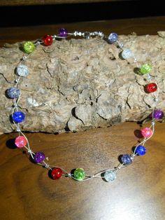 Neu unikat Regenbogen Glas kette bunt Halskette Collier Glasperlen Perlen in Uhren & Schmuck, Modeschmuck, Halsketten & Anhänger | eBay