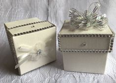 Diamante Wedding Favour Box with lid, Christmas Gift Box or Decoration, Tied organza bow or pull bow top, Party or Corporate event favours by ScarletRibbonsGB on Etsy