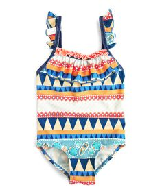 Look at this Navy Geometric One-Piece - Toddler & Girls on #zulily today!