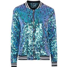 The Taylor Mermaid Sequin Bomber Jacket by Jaded London ($130) ❤ liked on Polyvore featuring outerwear, jackets, blue jackets, bomber style jacket, flight jacket, blouson jacket and blue bomber jacket