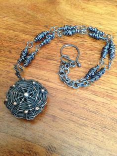 seedPod Necklace unusual hand woven oxidized by StudioLunaVerde