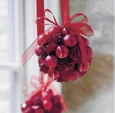 red glitter pine cone and ornaments