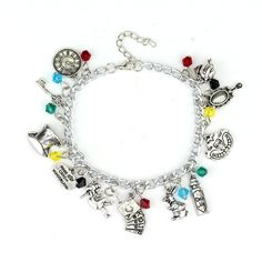 Fall down the rabbit hole with this unique Alice in Wonderland charm bracelet. This is the perfect piece to add to your own collection or to gift to that very special Wonderland fan in your life. Size