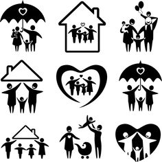 Big set of family icons. Happy family concepts: father, mother, daughter and son together. Heart Shapes Template, Shape Templates, Family Day, Happy Family, Logo Familia, Preschool Logo, Cross Drawing, Heart Artwork, Map Icons