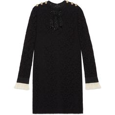 Gucci Embroidered Cluny Lace Dress ($3,980) ❤ liked on Polyvore featuring dresses, black, button dress, embroidery dresses, chain dresses, flower embroidered dress and gucci