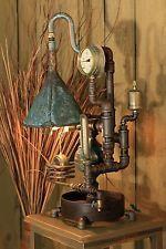 Industrial ~ Steampunk Explosion Proof Desk Lamp w/ Brass Gauge ~ by PLD Industrial Floor Lamps, Vintage Industrial Lighting, Industrial Light Fixtures, Industrial Pipe, Industrial Design, Bucket Light, Diy Light Fixtures, Retro Lamp, Art Deco Lamps