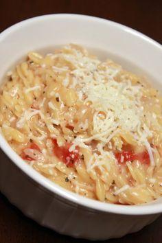 orzo risotto with tomato, mozzarella, and basil