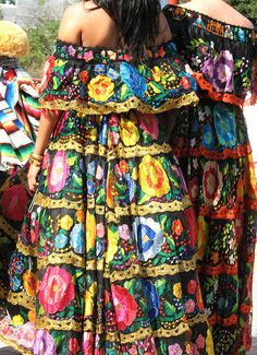 "Chiapanecas Mexico During fiestas the Mestiza women from Chiapa de Corzo, Chiapas wear beautiful costumes (blouse and skirt) embroidered with large and colorful flowers. These women are called ""chiapanecas""."
