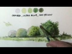 A nice one to practice....How to paint trees & bushes in watercolor lessons by Dennis Clark by geraldine