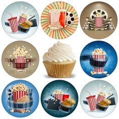 Essbar Tortenaufleger Kino Film Popcorn Fototorte Muffin DVD NEU Dekoration