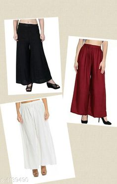 Checkout this latest Palazzos Product Name: *Trendy Women's Rayon Palazzo Combo(Pack Of 3)* Fabric: Rayon Size: Up To 28 in To 40 in ( Free Size ) Length: Up To 39 in Type: Stitched Description: It Has 3 Pieces Of Women's Palazzos Work: Solid Country of Origin: India Easy Returns Available In Case Of Any Issue   Catalog Rating: ★4.1 (1054)  Catalog Name: Riya Trendy Rayon Women's Palazzos Vol 15 CatalogID_589647 C79-SC1039 Code: 474-4139490-0321