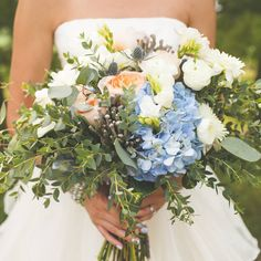 Something Blue ♡ A beautiful bouquet from Elizabeth Wray Design with pastel blue nails to match! Another gorgeous Emerson Creek wedding  Photograph courtesy of Brittania Drew Photo & Video  #weddingday #weddings #wedding #barnwedding #rustic #rusticwedding #barn #bouquet #bride #marriage #bridal #trendy #fashion #nails #nailpolish #weddinggown #happy #somethingblue #elegance #weddinginspiration #weddingseason #flowers #floral #beautiful #blossom #blooms