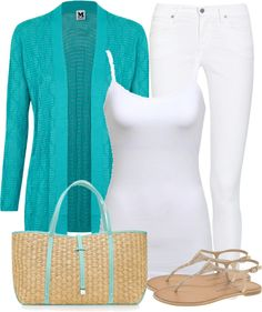 """Turquiose and White"" by denise-schmeltzer on Polyvore"