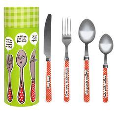 Couverts : Fine lame / Bon coup de fourchette / Très grande cuillière / Toute petite cuillière